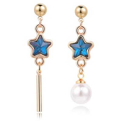 深邃藍鑽五角星珍珠不對稱 耳針/無耳洞黏貼式耳環