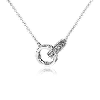 經典時尚相扣雙環鑲鑽合金項鍊