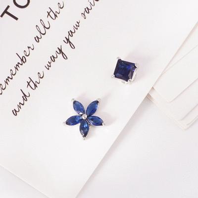 韓版不對稱方鑽花瓣 無耳洞黏貼式耳環