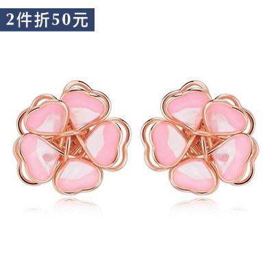 【2件折50元】甜美立體雙層櫻花 無耳洞黏貼式耳環