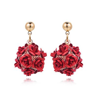 優雅玫瑰花朵 耳針/黏式耳環