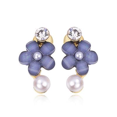 氣質鑲鑽珍珠花朵 黏式耳環