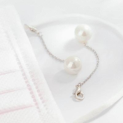 簡約高雅珍珠鋯鑽口罩吊飾