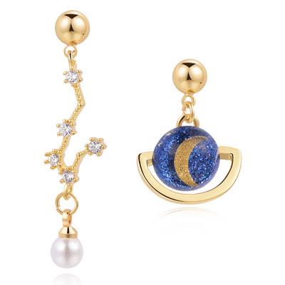 北斗星與行星月亮 耳針/無耳洞黏貼式耳環