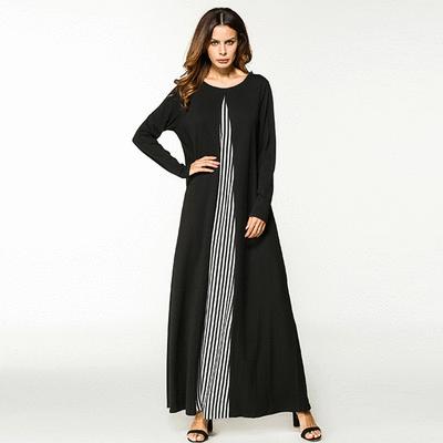 簡約直條紋長袖連衣長裙