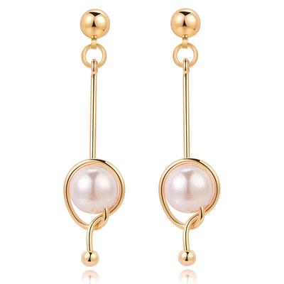 簡約幾何一字珍珠 無耳洞黏貼式耳環