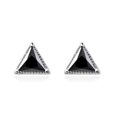 韓流三角鑲鑽黏式耳環