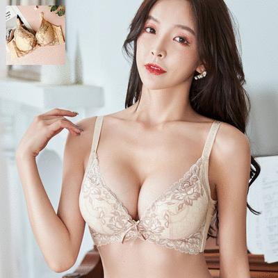 MIT台灣製-春漾花葉刺繡蕾絲無鋼圈內衣