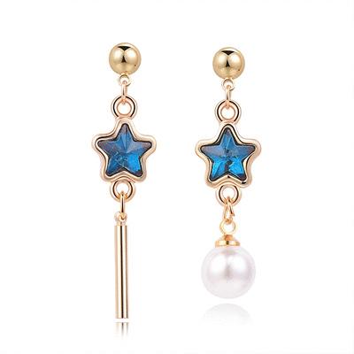 深邃藍鑽五角星珍珠不對稱 耳針/黏式耳環
