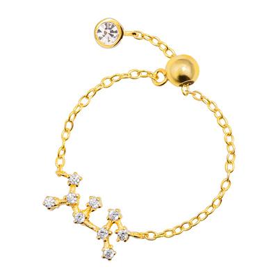 時尚個性十二星座鑲鑽指環鍊