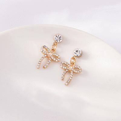 浪漫滿鑽蝴蝶結 耳針/無耳洞黏貼式耳環