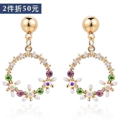 【2件折50元】精緻圓圈花環鑲鑽 耳針/無耳洞黏貼式耳環