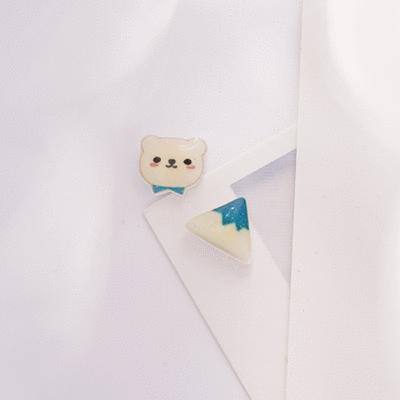 冰山與小熊熱縮片 無耳洞黏貼式耳環