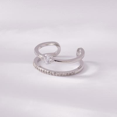 個性雙層鑲鑽開口戒指