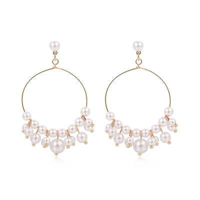 簡約氣質珍珠簍空圓環 耳針/ 黏式耳環