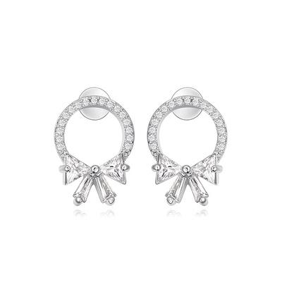 甜美氣質蝴蝶結鑲鑽 黏式耳環