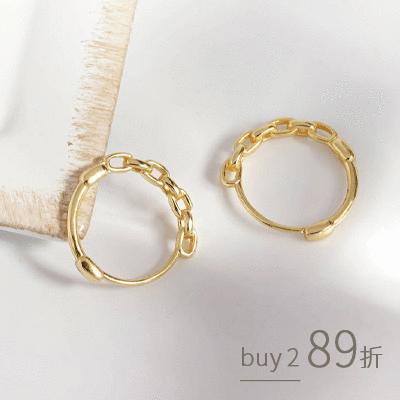 質感潮流鍊條大圓圈設計 耳針耳環[純銀]