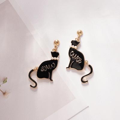 舞動珍珠黑色小貓 無耳洞黏貼式耳環