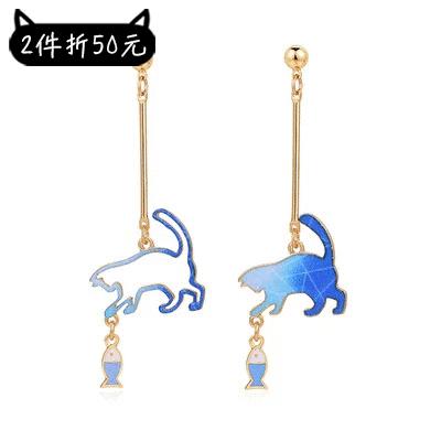 【2件折50元】不對稱貓咪逗小魚 耳針/黏式耳環
