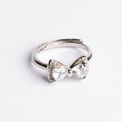 奢華鑲鑽蝴蝶結開口戒指
