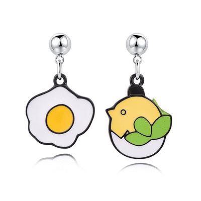 萌趣蛋殼小雞與蛋 黏式耳環