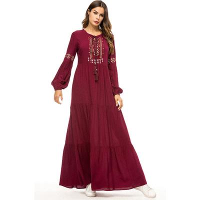 穆斯林簡約刺繡A字連身裙