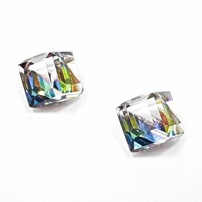 極簡透亮立方水晶 黏式耳環