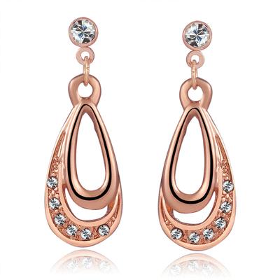典雅鍍金水滴鑲鑽無耳洞貼式耳環