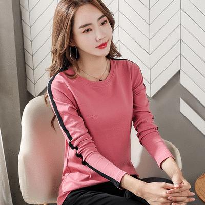 純色簡約拼接袖圓領棉質上衣