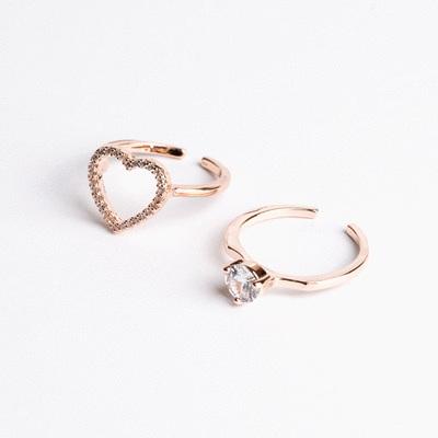 時尚二合一愛心鑲鑽開口戒指
