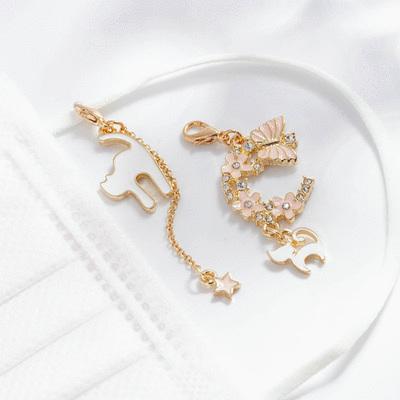 粉色櫻花貓咪星星不對稱口罩吊飾