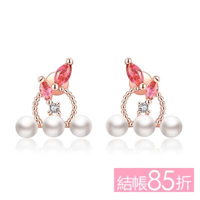 【結帳85折】優雅氣質珍珠圓環鑲鑽 無耳洞黏貼式耳環