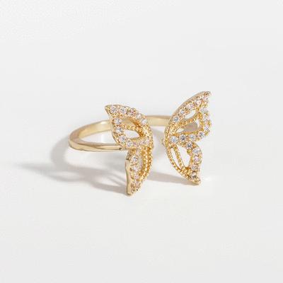 我們一起蝶舞翩翩開口戒指