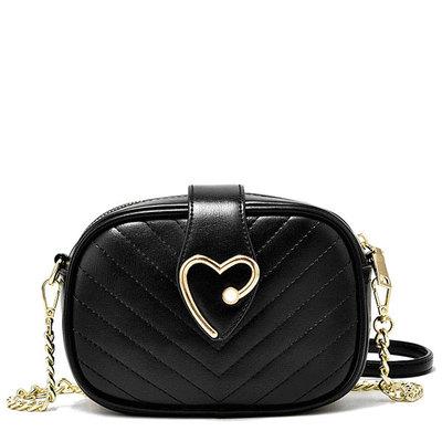 浪漫心飾鍊條側背小圓包