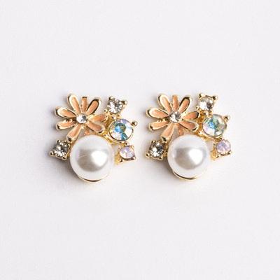 珍珠雛菊鑲鑽 無耳洞黏貼式耳環