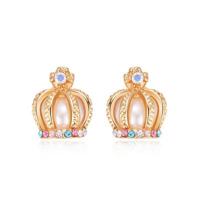 耀眼彩色鑲鑽皇冠黏式耳環