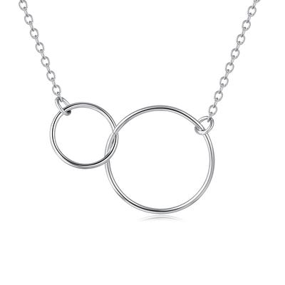 氣質簡約圓圈雙環S925純銀項鍊