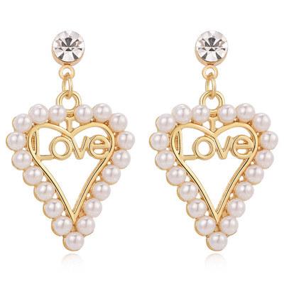 簍空愛心珍珠LOVE 耳針/無耳洞黏貼式耳環