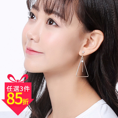 【專區3件★85折】極簡簍空三角珍珠 耳針/黏式耳環