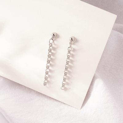 韓版極簡圓珠鏈條 耳針/無耳洞黏貼式耳環