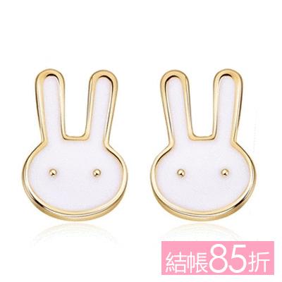【結帳85折】童趣卡通兔兔 無耳洞黏貼式耳環