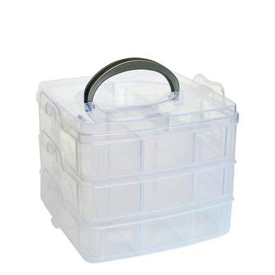 簡約透明可手提收納盒(3層18格)