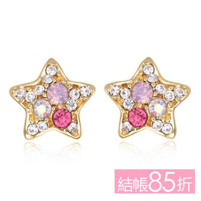 【結帳85折】炫彩亮鑽可愛星星 無耳洞黏貼式耳環