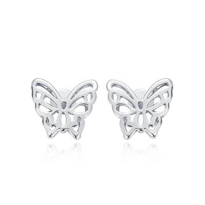雙層立體簍空蝴蝶黏式耳環