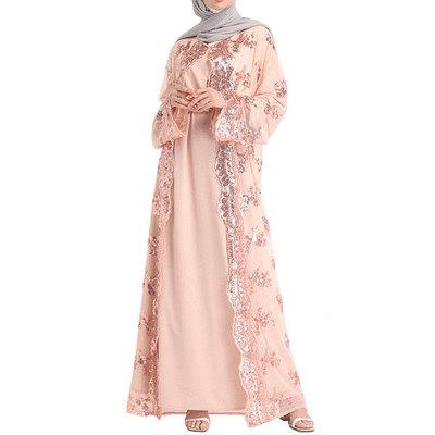 穆斯林珠片刺繡網紗長袍外罩