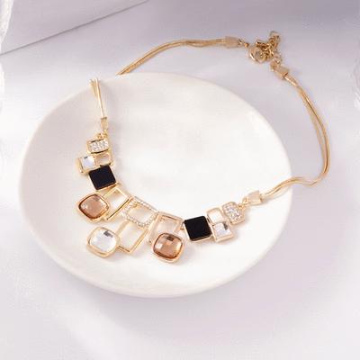 韓版時尚幾何方形合金水晶項鍊