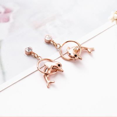可愛鍍金小海豚 耳針/無耳洞黏貼式耳環