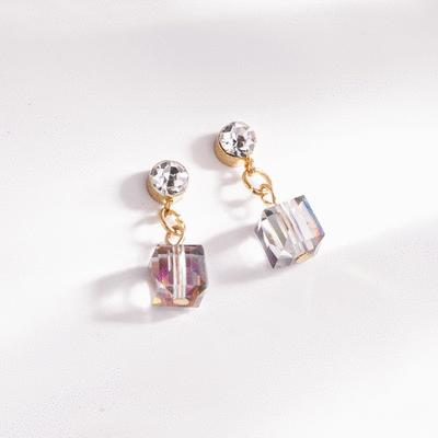 愛情魔方多彩玻璃 耳針/無耳洞黏貼式耳環