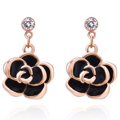 典雅鍍金黑玫瑰 耳針/無耳洞黏貼式耳環