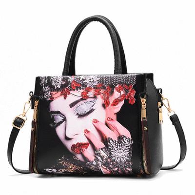甜美印花定型手提包